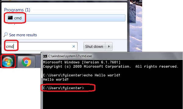 Start Command Line Prompt on Windows 7