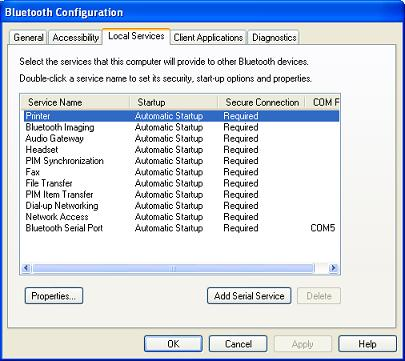 Bluetooth Configuration - Local Services