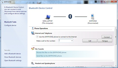 Bluetooth Device Control - Cell Phone
