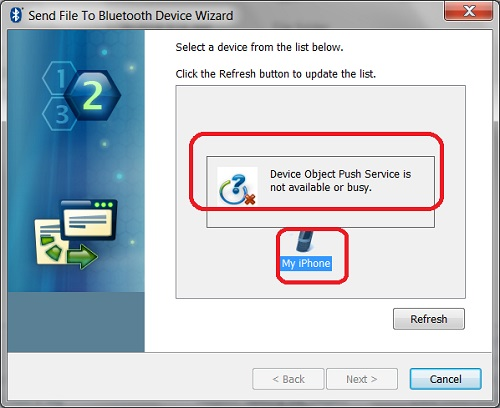Bluetooth - Send File to iPhone from Windows 7 Failed