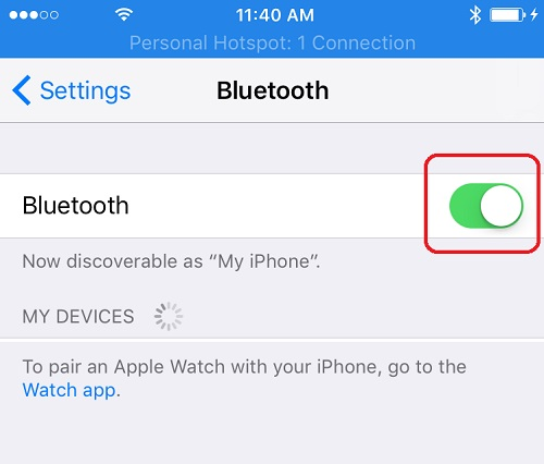 Turn on Bluetooth on iPhone Running iOS 10