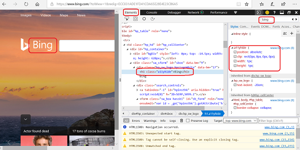 Edge Developer Tools - View CSS Style Properties