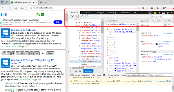 Developer Tools Included in Edge Web Browser