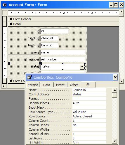 10. Then Close the properties box and switch the form to the Form View