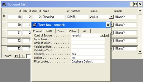 MS Access Invalid Control Source - #Name?