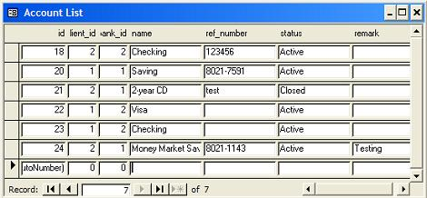 MS Access Standard Tabular Form