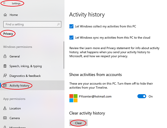 Windows 10 - Clear Activity History