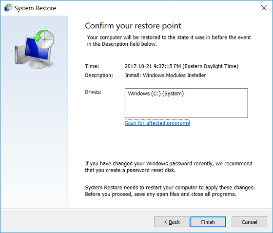 Restoring System to Restore Point