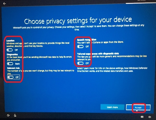 Windows 10 Setup - Choose Privacy Settings