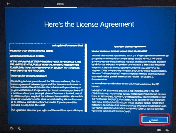 Windows 10 Sutup - License Term and Agreement