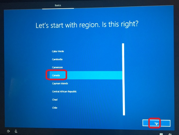 Windows 10 Setup - Select Country or Region
