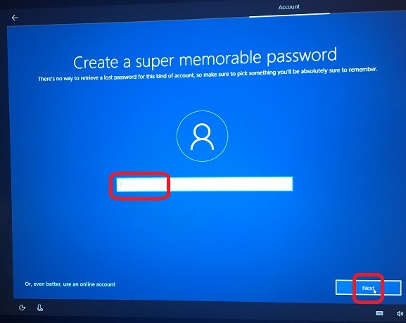 Windows 10 Setup - Set Account Password