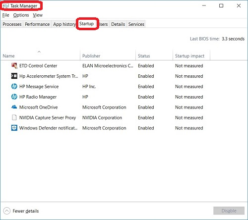 Windows 10 Task Manager - Startup Tab