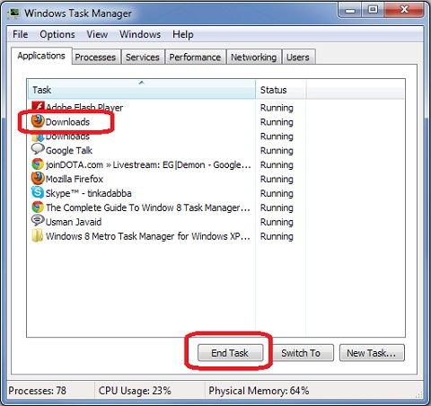 Windows 7 Task Manager - Terminate Application