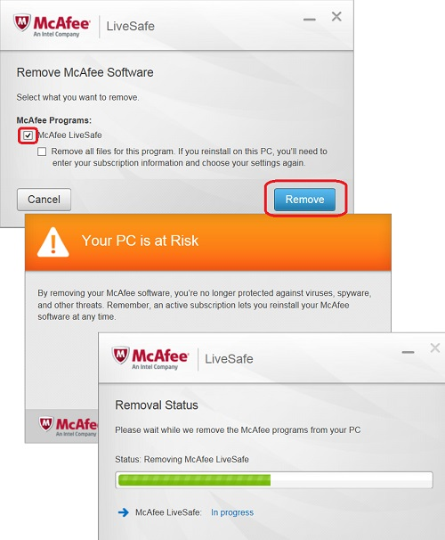 Uninstall McAfee LiveSafe