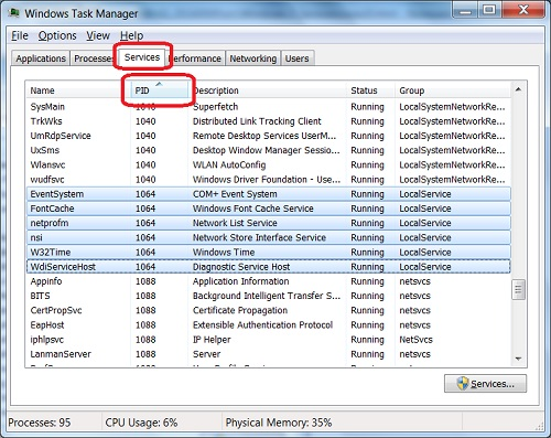 Windows-7 Task Manager - Services Tab