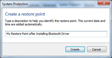 Creating Windows 7 System Restore Point