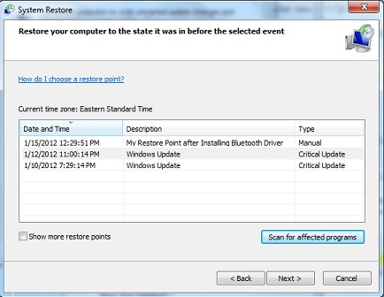 List of System Restore Points