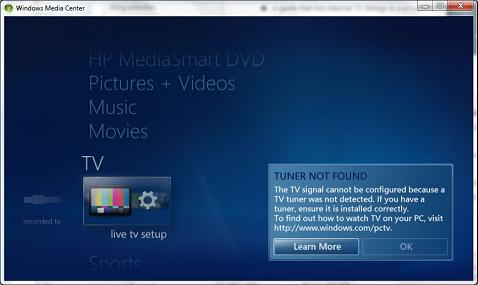 Windows Media Center - Live TV Tuner Missing