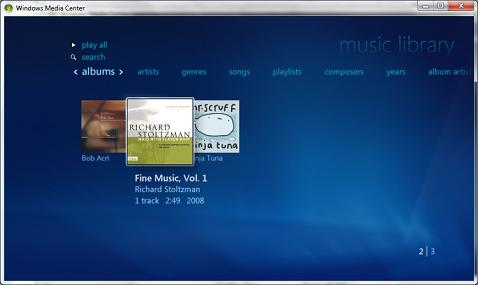 Windows Media Center Music Albums