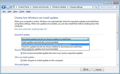 Windows 7 Update - Change Settings
