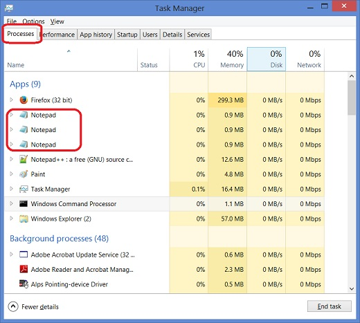 Windows 8 Task Manager - Applications Tab