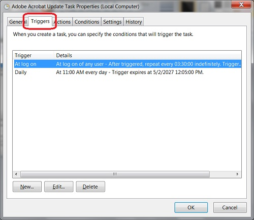 Windows 8 - Triggers of Scheduled Task