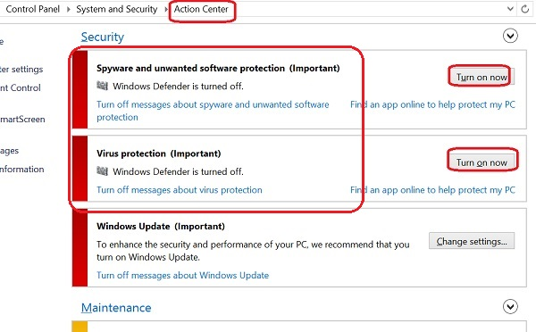 Windows Defender Alert in Action Center