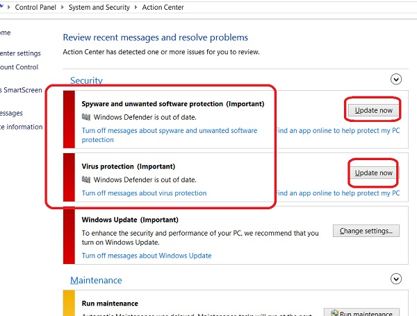 Windows Defender Outdated Warning in Action Center