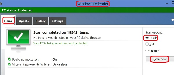 Perform Quick Scan with Windows Defender
