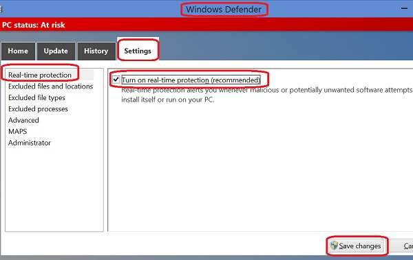 Turn on Windows Defender Real-Time-Protection