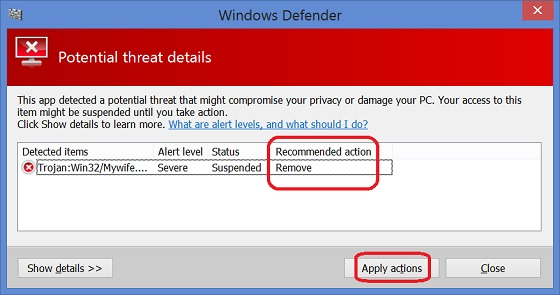 Remove Malware Detected by Windows Defender