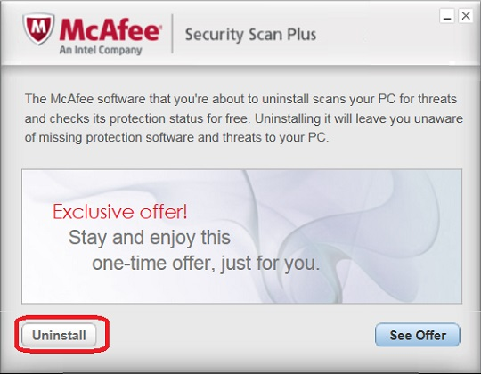 Uninstall with McAfee Security Scan Plus