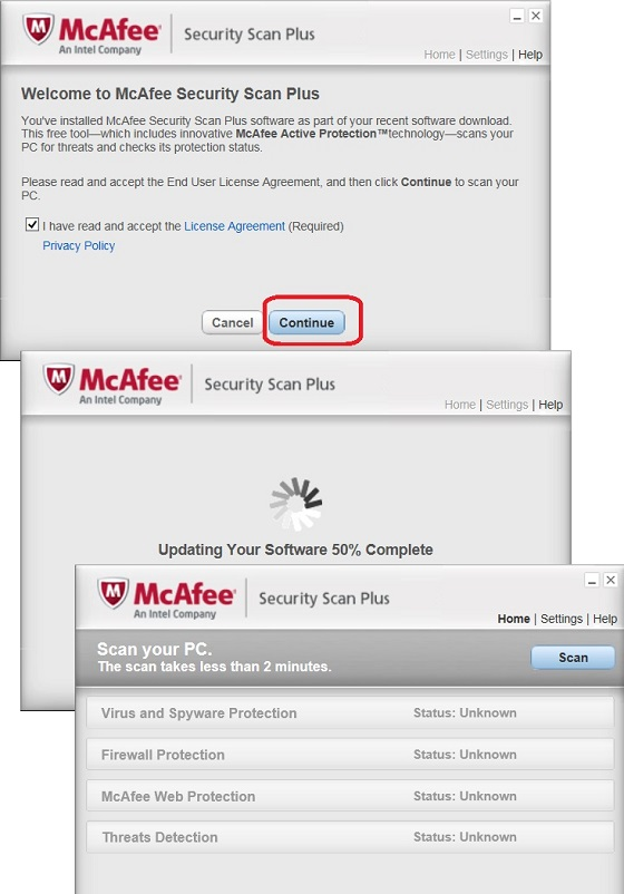 Update McAfee Security Scan Plus
