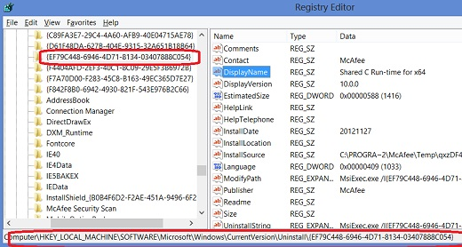 Windows 8 Registry - List of Uninstall Programs