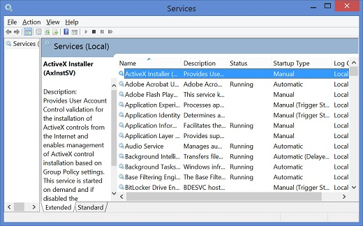 Windows 8 Services Console Screen