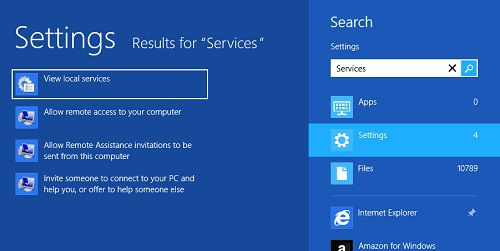 Windows 8 Launching Services Console from Search Box