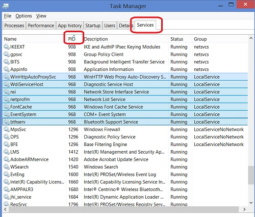Windows 8 Task Manager - Services Tab