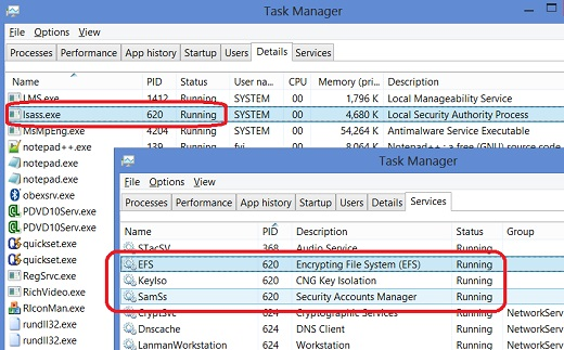 Windows 8 Task Manager - lsass.exe Process and Services
