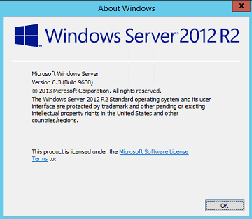 Windows Server 2012 Version and Build Number Screen