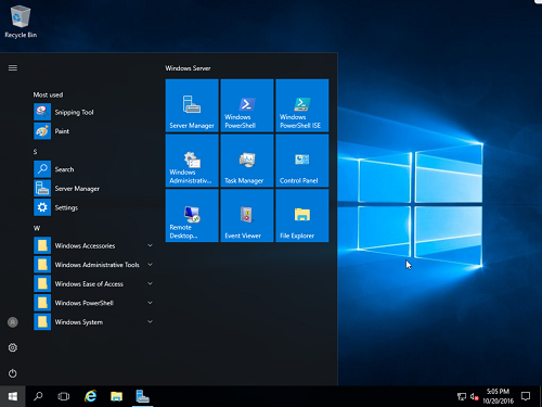 Windows Server 2016 Start Screen
