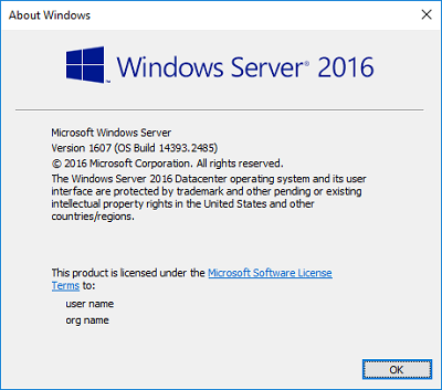 Windows Server 2016 Version and Build Number Screen