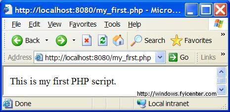 Apache First PHP Script