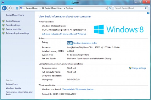 System Information Screen on Windows 8