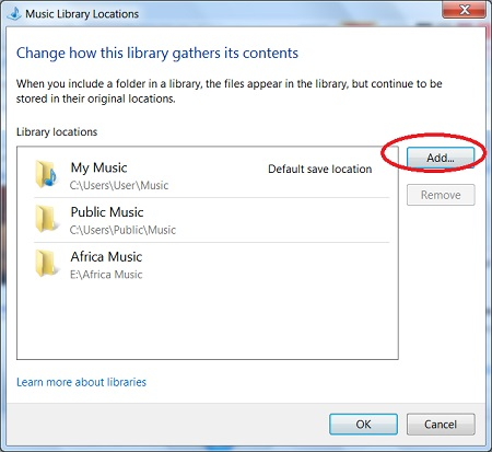 Adding Folders to the Music Player Library