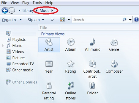 Music Library in Windows Media Player 12