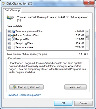 how to delete stuff on start up disk