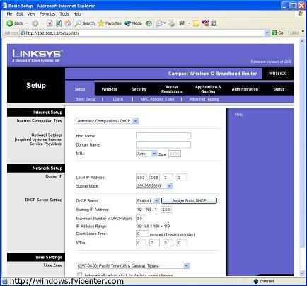 Linksys Wireless Router Admin Page