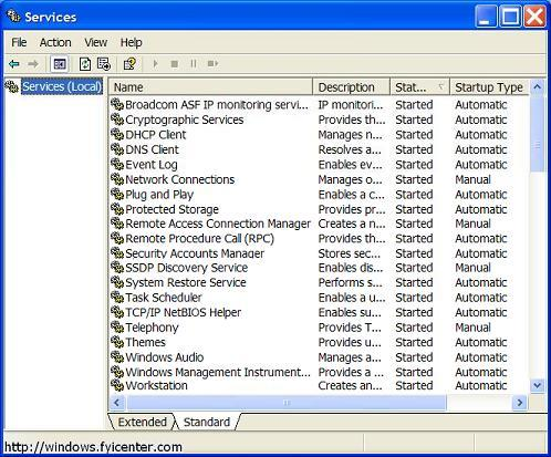 Windows Service Minimum List